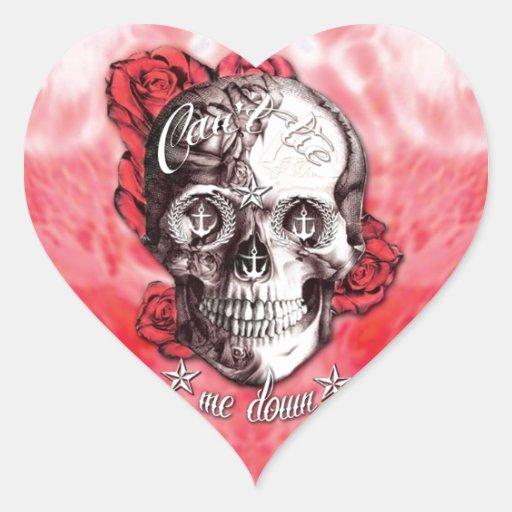No puede atarme abajo del cráneo náutico en rojo y colcomanias de corazon personalizadas
