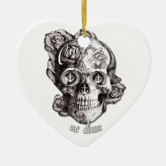 No puede atarme, el cráneo náutico adorno de cerámica en forma de corazón