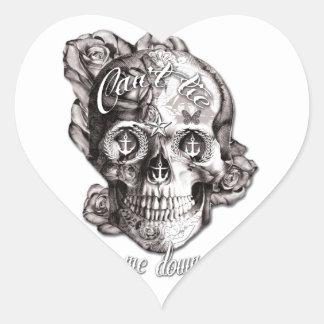 No puede atarme, el cráneo náutico pegatina en forma de corazón