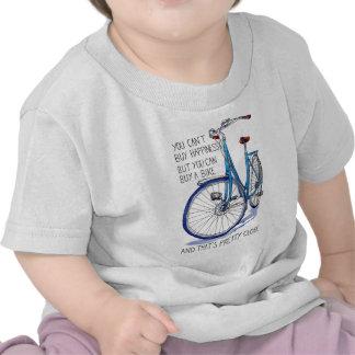 No puede comprar felicidad, bici azul camisetas
