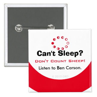 No puede dormir no cuentan ovejas escuchan Ben Pin Cuadrada 5 Cm