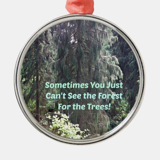 No puede ver el bosque para los árboles adorno navideño redondo de metal