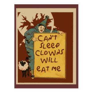 No pueden dormir, los payasos me comerán las postal