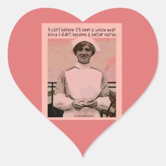 No puedo creer que no hice mejor enfermera calcomania de corazon