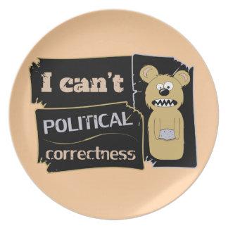 No puedo llevar corectness político plato de cena