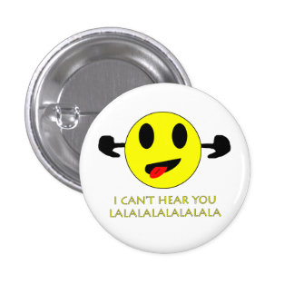 no puedo oírle, botón sonriente tapado oídos pin redondo de 1 pulgada