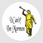No puedo, yo soy mormón etiqueta redonda