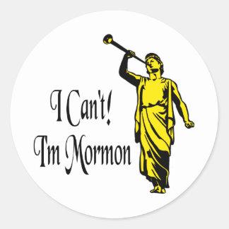 No puedo yo soy mormón etiqueta redonda