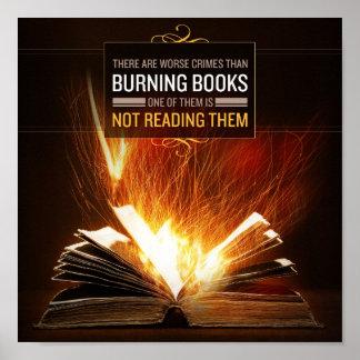 No queme los libros, leídos los - impresión del po póster