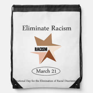 No Racism- Graphic showing unity Drawstring Bag