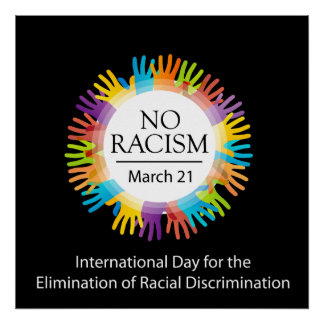 No racism graphic with colorful hands poster
