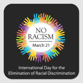 No racism graphic with colorful hands square sticker
