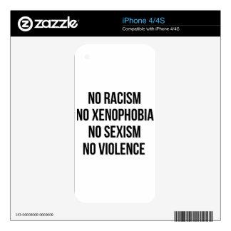NO RACISM, NO HOMOPHOBIA, NO SEXISM, NO VIOLENCE SKIN FOR THE iPhone 4S