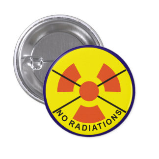 no radiations badge 1 inch round button