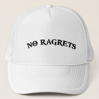 No Ragrets Mispelled Regrets Tattoo Trucker Hat