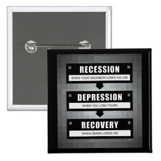 No Recovery With Obama 2 Inch Square Button