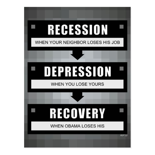 No Recovery With Obama Postcard