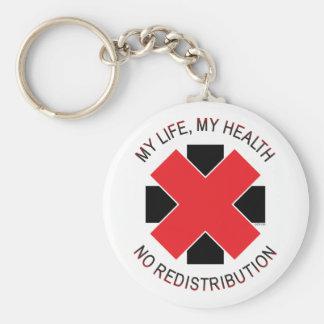 No Redistribution of Health Basic Round Button Keychain