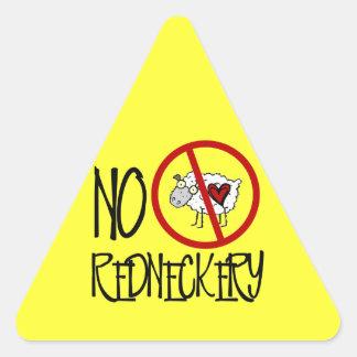 No Redneckery! Funny Redneck Sheep Triangle Sticker