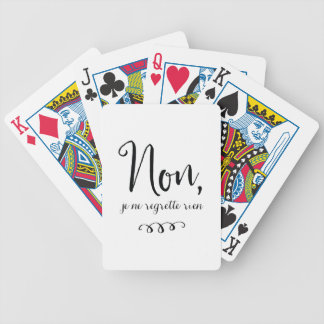 No Regrets Inspiratioinal French Quote Bicycle Playing Cards