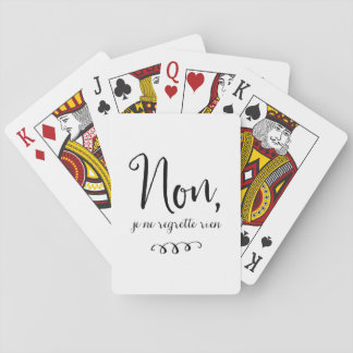 No Regrets Inspiratioinal French Quote Deck Of Cards