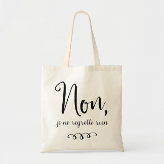 No Regrets Inspiratioinal French Quote Tote Bag