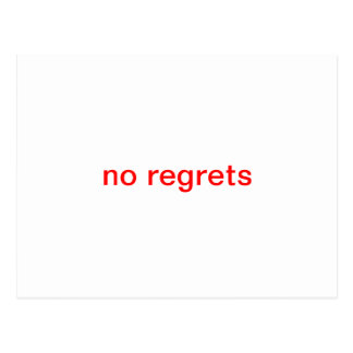 No regrets postcard