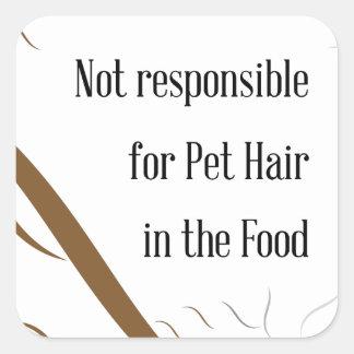 No responsable de pelo del mascota en la comida pegatina cuadrada