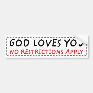 No Restrictions Bumper Sticker