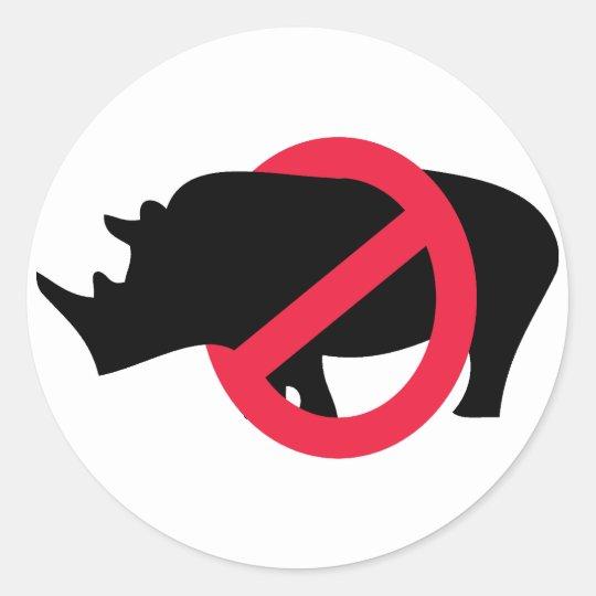 No Rhinos - Rino Buster Classic Round Sticker