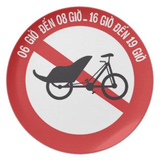 No Rickshaws Allowed, Traffic Sign, Vietnam Plates