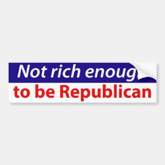 No rico bastante ser republicano pegatina para auto
