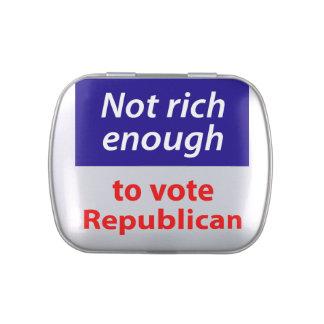 No rico bastante votar al republicano jarrones de caramelos