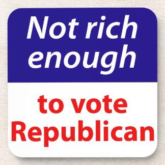 No rico bastante votar al republicano posavasos de bebida