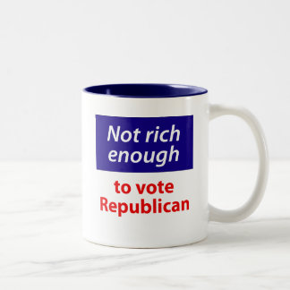 No rico bastante votar al republicano taza de dos tonos