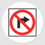 No Right Turn Highway Sign Stickers