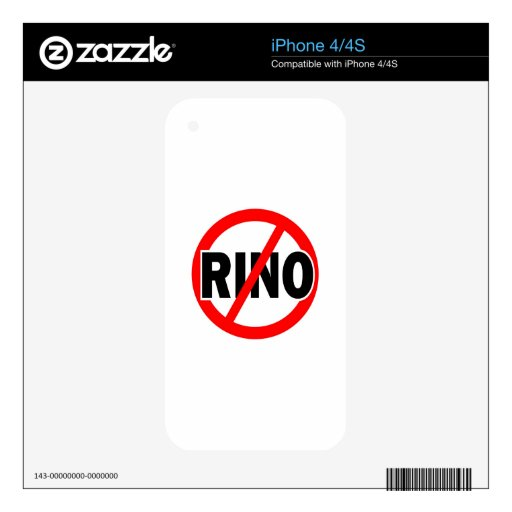 NO RINO - republican/conservative/neocon/liberty Skins For iPhone 4