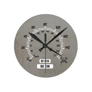 No Risk No Fun Round Clock