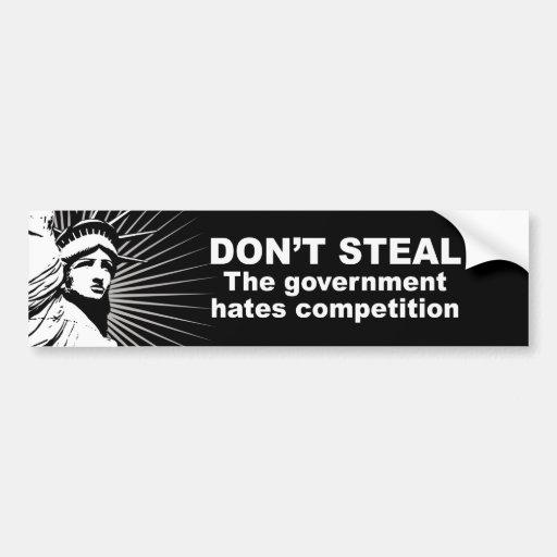 No robe - la competencia de los odios del gobierno etiqueta de parachoque