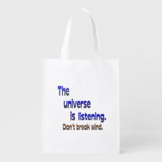 No rompa el viento - el universo está escuchando bolsas de la compra