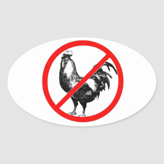 No Rooster?! Oval Sticker