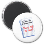 No Rules at Grammy's House 2 Inch Round Magnet