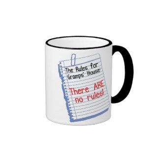 No Rules at Gramps' house Ringer Coffee Mug