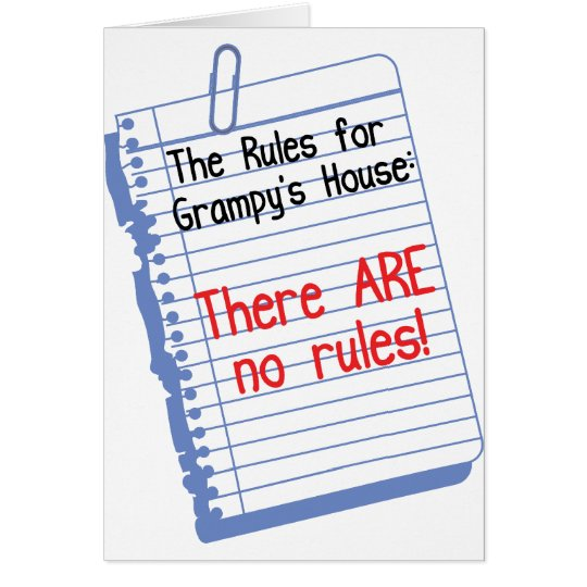 No Rules at Grampy's House Card