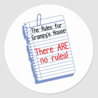 No Rules at Grampy's House Classic Round Sticker