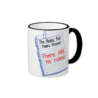 No Rules at Paw's House Ringer Mug