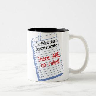 No Rules at Pepere's House Two-Tone Coffee Mug