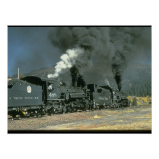 No.'s 487 & 488 blacken the air_Steam Trains Poster