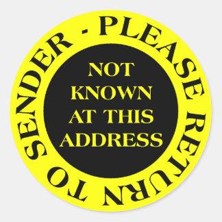 No sabido en esta dirección - amarillo II Etiquetas Redondas