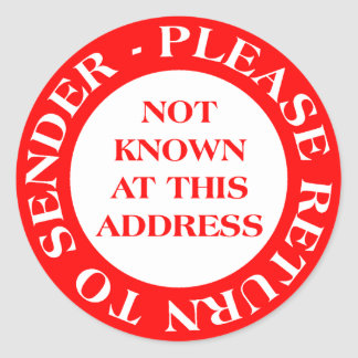 No sabido en esta dirección - rojo etiquetas redondas